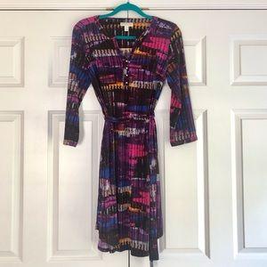 Dana Buchman Faux Wrap Multicolor Women's Dress S